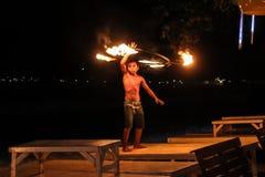 Boy show firework in island night Stock Image