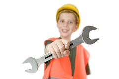 Boy show a open end wrench Stock Photography