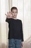 Boy show stop Royalty Free Stock Photo