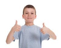 Boy show a thumbs Stock Photos
