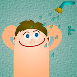 Boy in shower Royalty Free Stock Photography