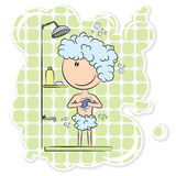 Boy in the shower Stock Images