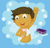 Boy showering Stock Images