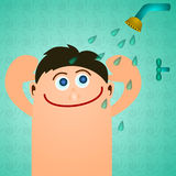 Boy showers Stock Photography
