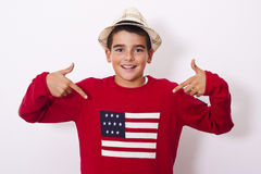 Boy showing the american. Flag stock photography