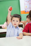 Boy Showing Clay Model In Preschool Royalty Free Stock Photography