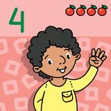 Boy showing four by hand Counting education card 4. Card 4. Arabian boy in shirt on light-red background. Kid`s hand showing the number four hand sign. Childrens Stock Photo