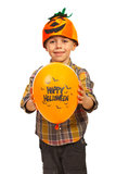 Boy showing Halloween balloon Stock Images