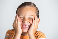 Boy showing missing teeth. Royalty Free Stock Photo