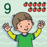 Boy showing nine by hand Counting education card 9. Card 9. Boy in t-shirt on light green-blue background. Kid`s hands showing the number nine hand sign Stock Photos