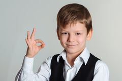 Boy showing ok sign Royalty Free Stock Image
