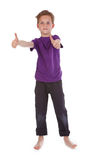 Boy showing ok sign on white Stock Photo