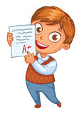 Boy showing perfect test results. Boy learns perfectly. An A student. Funny cartoon character. Vector illustration. Isolated on white background Royalty Free Stock Photography