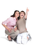 Boy showing something interesting to his mother Stock Photography