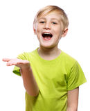 Boy showing something Stock Image