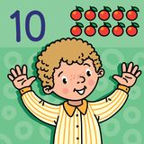 Boy showing ten by hand Counting education card 10. Card 10. Boy in shirt on green-blue background. Kid s hands showing the number ten hand sign. Childrens Royalty Free Stock Photos