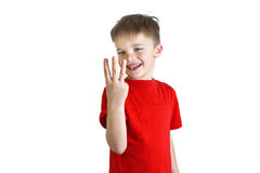 Boy showing three fingers Stock Photography