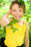 Boy showing thumbs up. Spring portrait of a happy boy showing thumbs up outdoors Royalty Free Stock Photography