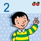 Boy showing two by hand. Counting education card 2. Card 2. Boy in the striped sweater on light-blue background. Kid`s hand showing the number two hand sign Royalty Free Stock Photo