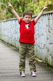 Boy showing victory sign Stock Image