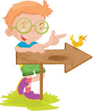 Boy showing way. Illustration of boy showing way to go Stock Photography