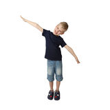 Boy shows airplane Royalty Free Stock Images