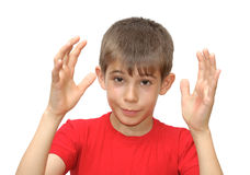 The boy shows emotion gestures Stock Images