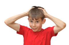 The boy shows emotion gestures Stock Photo