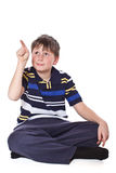 Boy shows his finger stock photography