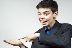Boy shows his hand Stock Photography