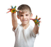 Boy shows his hand smeared in paint Royalty Free Stock Photos