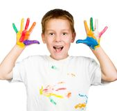 Boy shows his hands painted with paint stock images