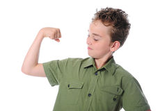 The boy shows his muscles Stock Photos