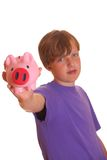 Boy shows his piggy bank Stock Photography