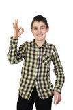 Boy shows ok isolated Royalty Free Stock Photography