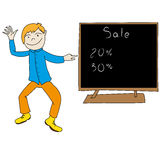 Boy shows the sale vector Stock Images