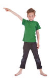 Boy shows something above him Royalty Free Stock Photos