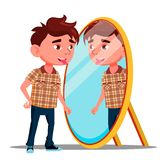 Boy Shows Tongue In His Reflection In The Mirror Vector. Isolated Illustration royalty free illustration