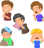 Boy sick cartoon collection Royalty Free Stock Image
