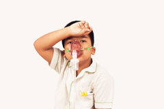 Boy sick in inhaler mask Stock Photography