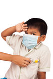 Boy sick wear mask and themometer Royalty Free Stock Photography