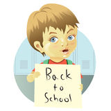 Boy with sign Royalty Free Stock Photography