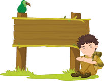 Boy and sign. An illustration of a boy sitting next to a sign Royalty Free Stock Image