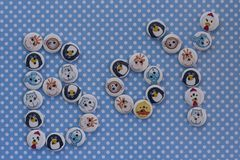 Boy sign with kids buttons. Baby announcement. Blue polka dots b Royalty Free Stock Photo