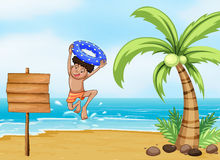 A boy and the signboard at the beach. Illustration of a boy and the signboard at the beach Stock Images