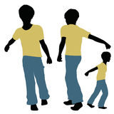 Boy silhouette in Carrying Pose Stock Images