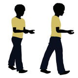 Boy silhouette in Carrying Pose Royalty Free Stock Images