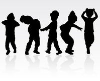 Boy silhouette. Dancing boys silhouettes Royalty Free Stock Images