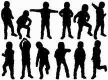Boy silhouette. Happy boys outdoors Royalty Free Stock Photos