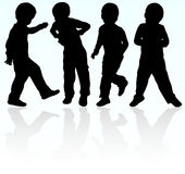 Boy silhouette. Happy group of boys Royalty Free Stock Images